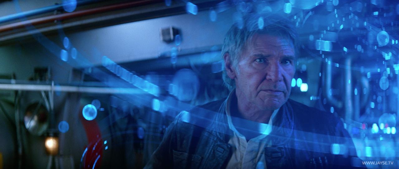 Han Solo amidst Map to Luke hologram designed by Jayse Hansen and Andrew Kramer