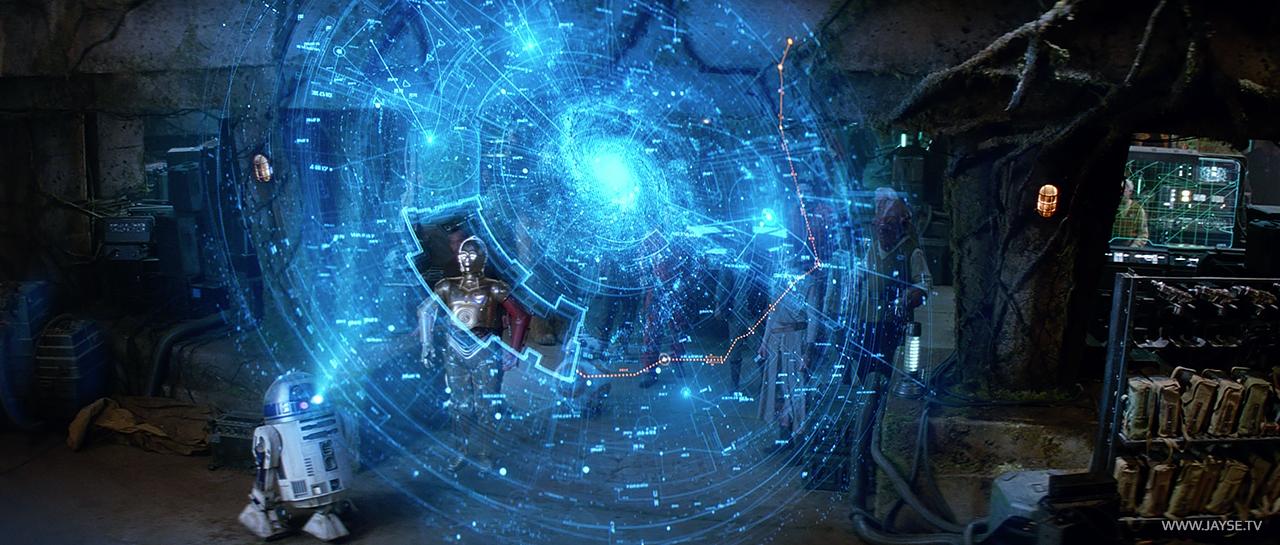 Hologram Map to Luke Skywalker in Star Wars, the Force Awakens