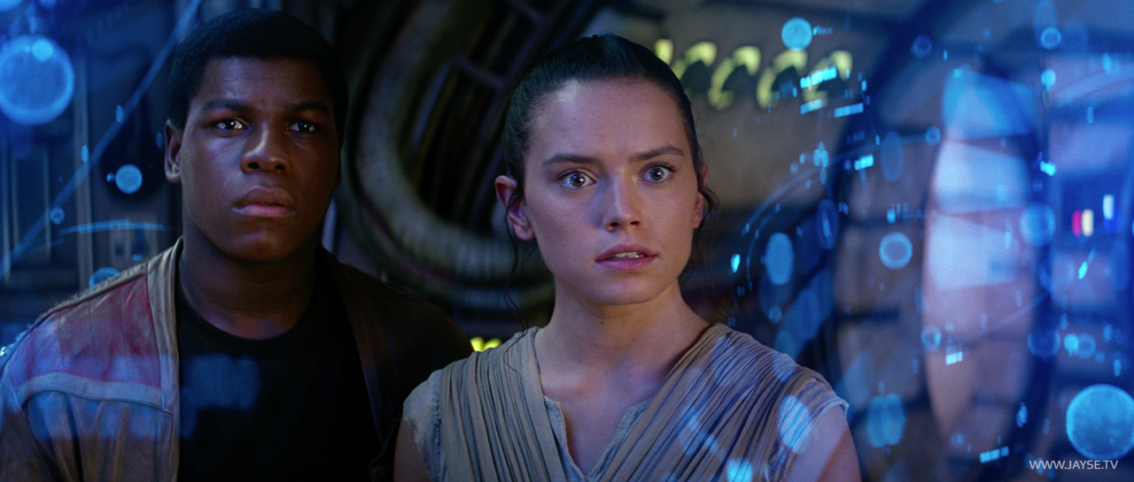 Rey and Finn amidst Holographic Map to Luke designed by Jayse Hansen